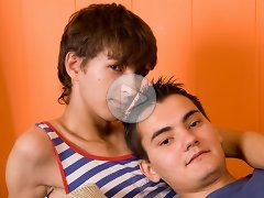 FLASH !!! Slim-bodied twink got his narrow hole fucked right in his bedroom by his best friend. Two lustful boys areenjoying each second lying on the