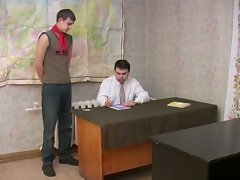 Nasty teacher gives a good lesson to his naughty student right at the classroom.